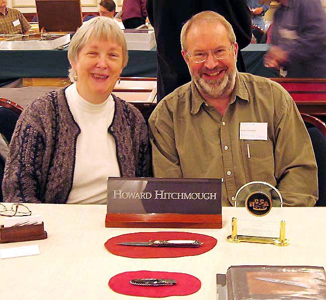 Virginia Lee Miller & Howard Hitchmough taking a moment after Howard won Best Custom Knife at the Mystic 2006 Show.