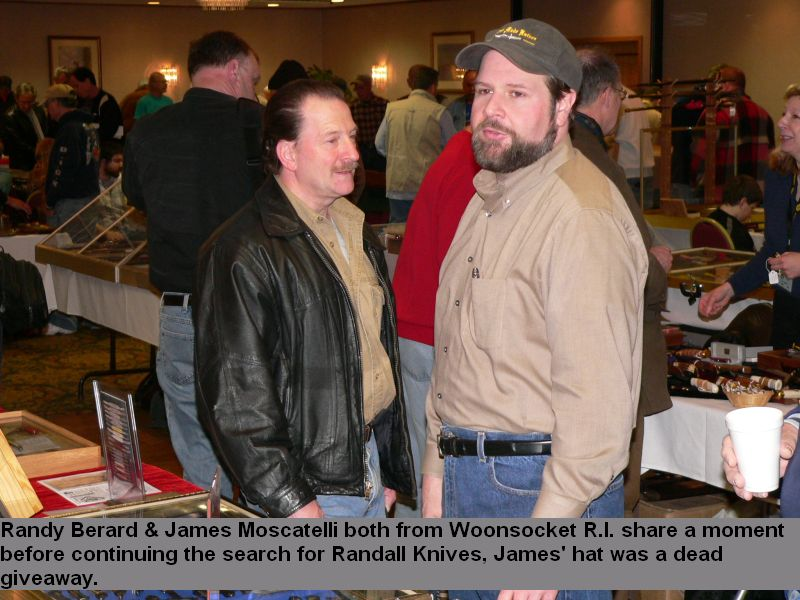 Randy Berard & James Moscatelli both from Woonsocket R.I. share a moment before continuing the search for Randall Knives, James' hat was a dead giveaway.