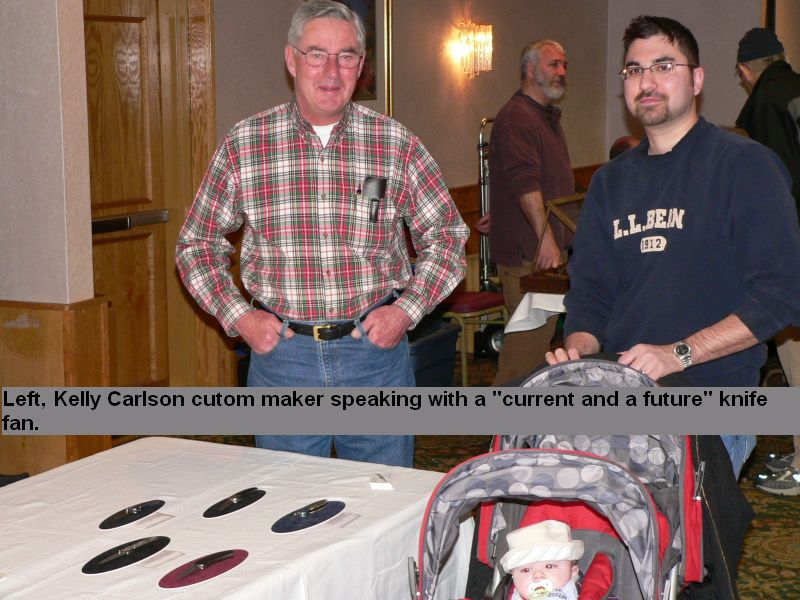 Left, Kelly Carlson custom maker speaking with a 'current and future' knife fan.