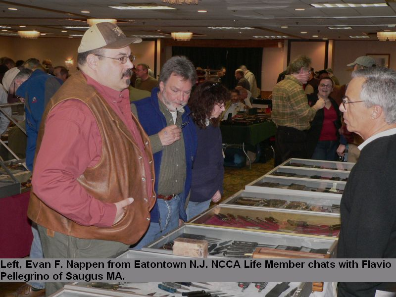 Left, Evan F. Nappen from Eatontown N.J. NCCA Life Member chats with Flavio Pellegrino of Saugus MA.