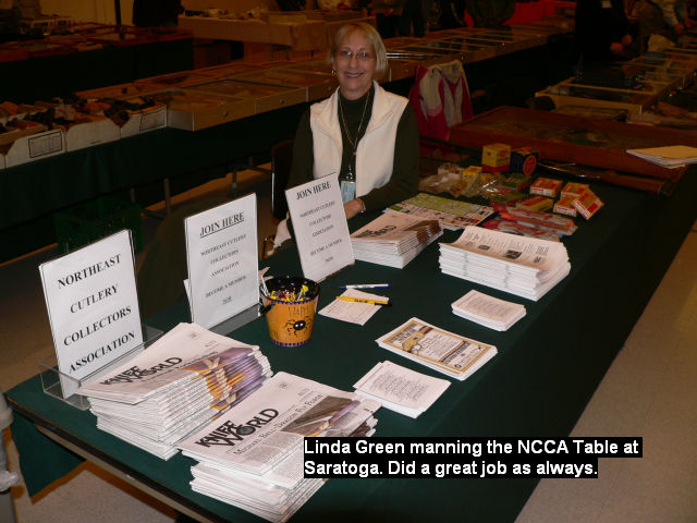 Linda Green manning the NCCA Table at Saratoga. Did a great job as always.