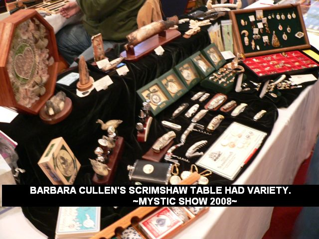 Barbara Cullen's scrimshaw table had variety.