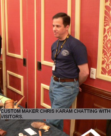 Custom maker Chris Karam chatting with visitors.