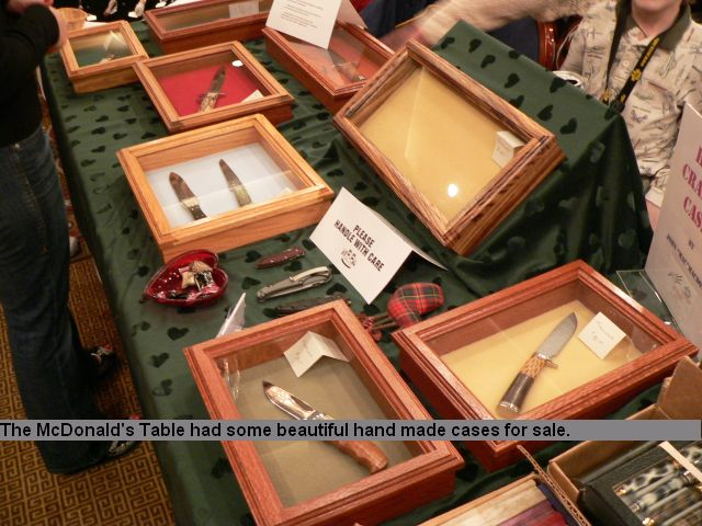 The McConald's table had some beautiful hand made cases for sale.