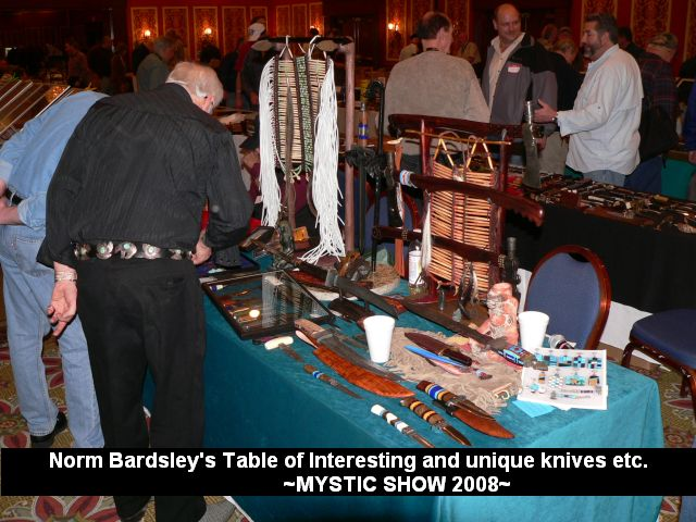 Norm Bardsley's table of interesting and unique knives etc.