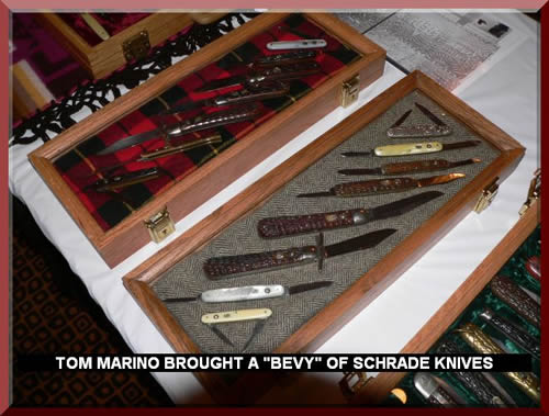 "TOM MARINO BROUGHT A ""BEVY"" OF SCHRADE KNIVES"