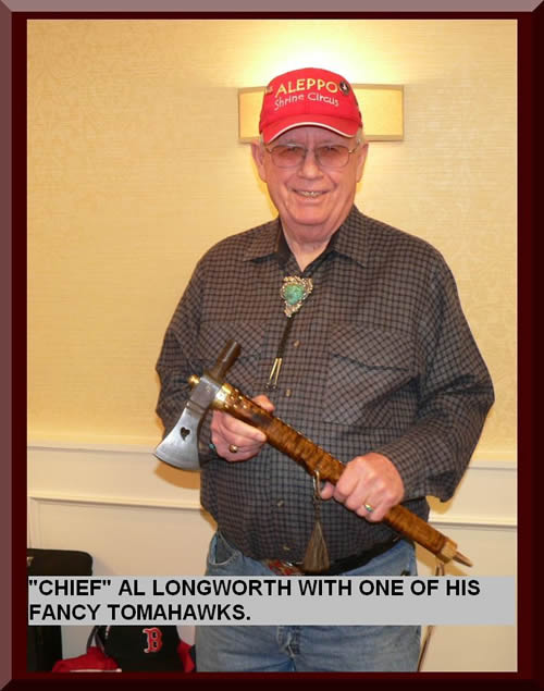 """CHIEF"" AL LONGWORTH WITH ONE OF HIS FANCY TOMAHAWKS."