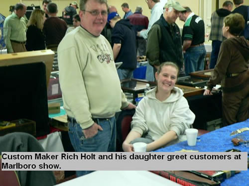 Custom maker Rich Hold and his daughter greet customers at Marlboro show.