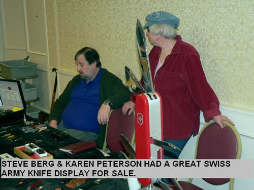 STEVE BERG & KAREN PETERSON HAD A GREAT SWISS ARMY KNIFE DISPLAY FOR SALE.